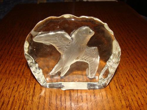 antiguo adorno de ave en cristal