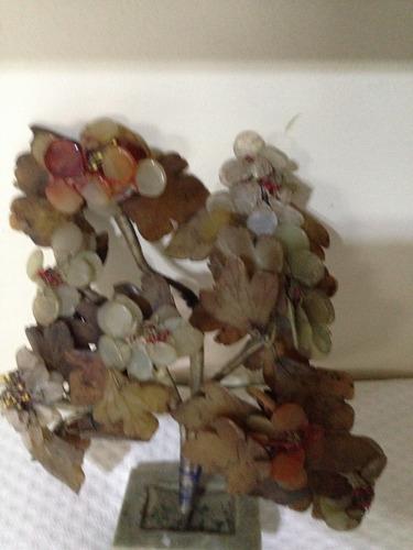 antiguo adorno despojador  piedra jabòn tallado hoja y otros