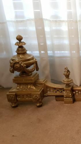 antiguo adornos chimenea frances atizador bronce macizo