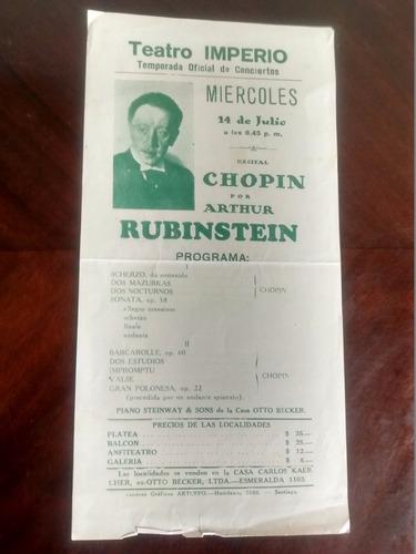 antiguo afiche del teatro imperio - arthur rubinstein