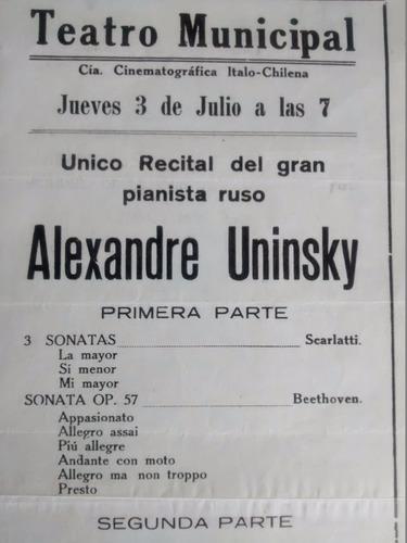 antiguo afiche del teatro -  municipal 1943