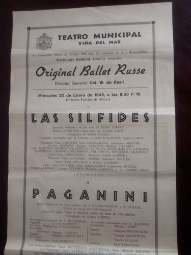 antiguo afiche del teatro municipal  viña del mar 1943