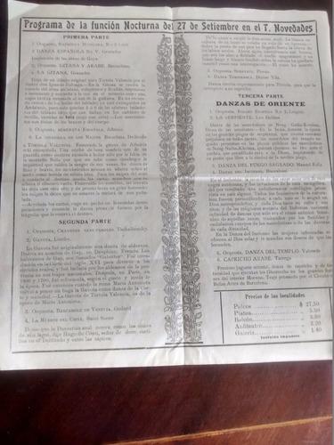 antiguo afiche del teatro novedades - tortola valencia (a7