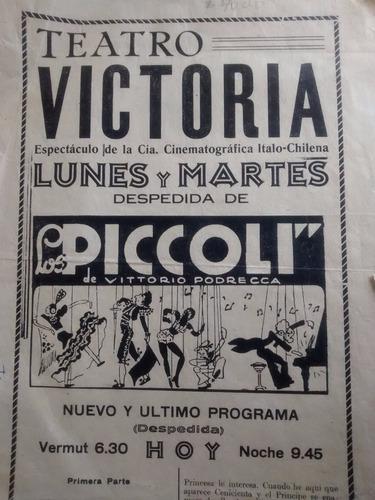 antiguo afiche del teatro victoria  viña del mar 1940