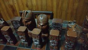 A Madera Tallada Ajedrez Mano Con Excelente Base Antiguo srhBtdxQC
