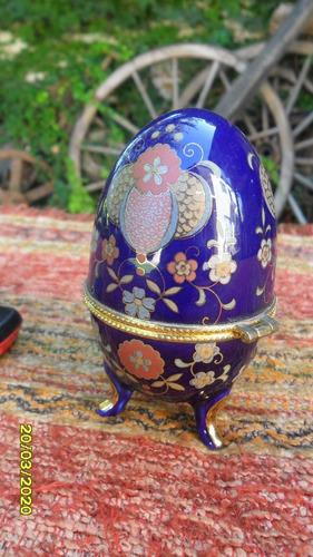 antiguo ? alhajero huevo en cerámica azul cobalto