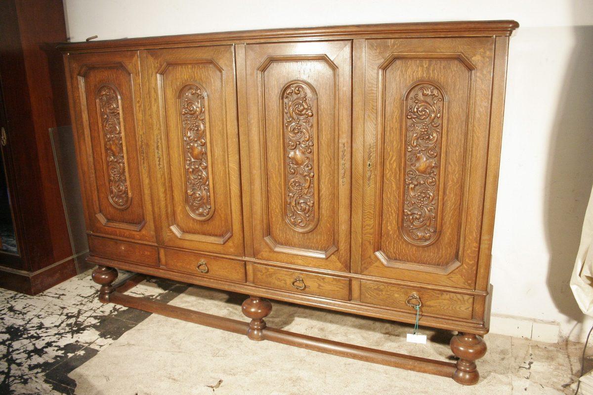 Antiguo Aparador Mueble Madera Tallad Antig La Rueda _ L R  # Muebles Tallados En Madera