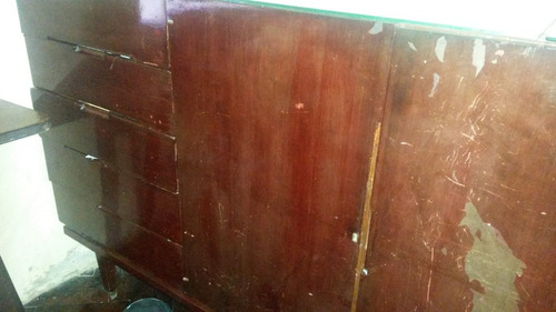 antiguo bahiut - vajillero licorera mueble de madera maciza