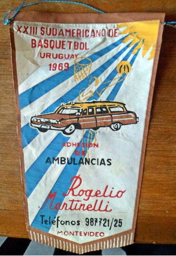 antiguo banderin 13 sudamericano basquetbol 1969 martinelli