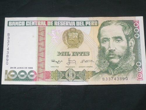 antiguo billete 1000 mil intis mariscal avelino cáceres 1987
