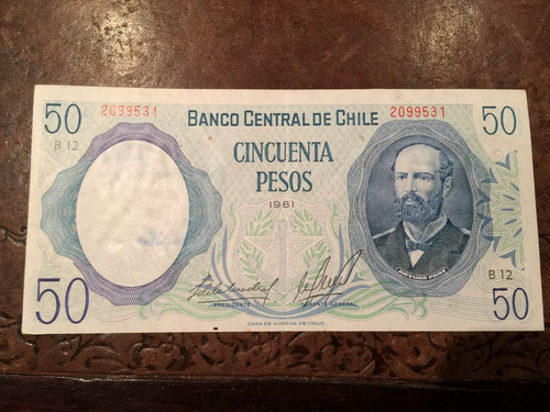 antiguo billete chile $50 cincuenta pesos 1981 excelente.