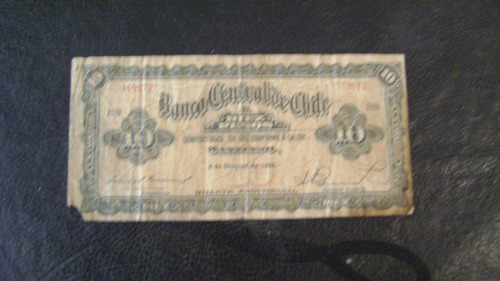 antiguo billete chile diez pesos 1 condor año 1928 serie 2.2