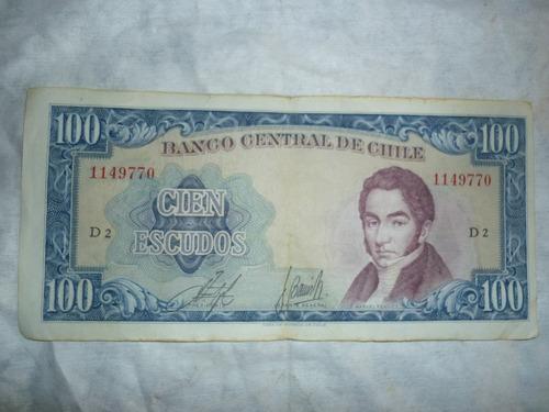 antiguo billete chileno de 100 escudos