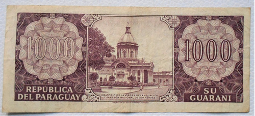 antiguo billete de 1000 mil guaranies serie a