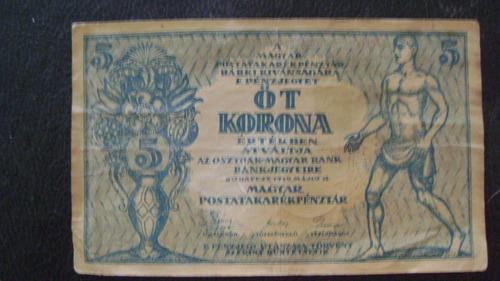antiguo billete hungria 5 koronas  año 1919  serie 4.6