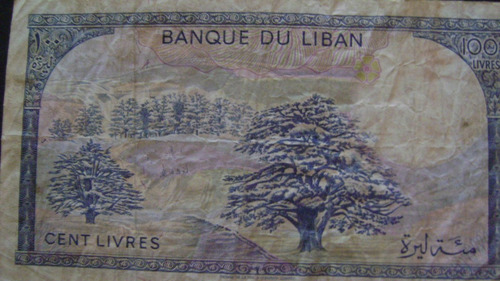 antiguo billete libano  valor 100 livres serie 4.22