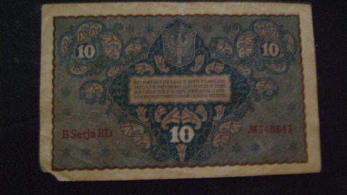 antiguo billete polonia 10 marek año 1919  serie 4.21