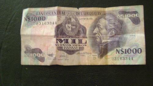 antiguo billete uruguay 1000 nuevos pesos moneda nacional