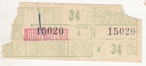 antiguo boleto cutcsa 34 centesimos interdepartamental
