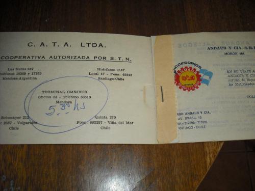 antiguo boleto de transporte chile argentina  c.a.t.a
