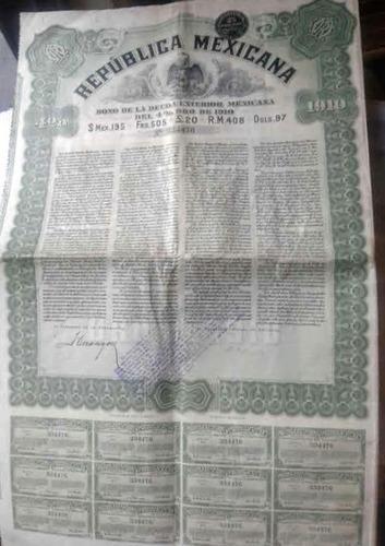 antiguo bono deuda de la república mexicana 1910  !!