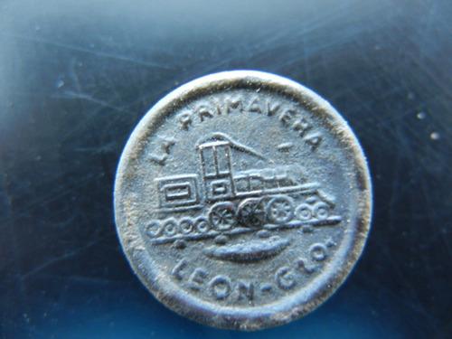 antiguo botón  la primavera león gto.con grabado ferrocarril