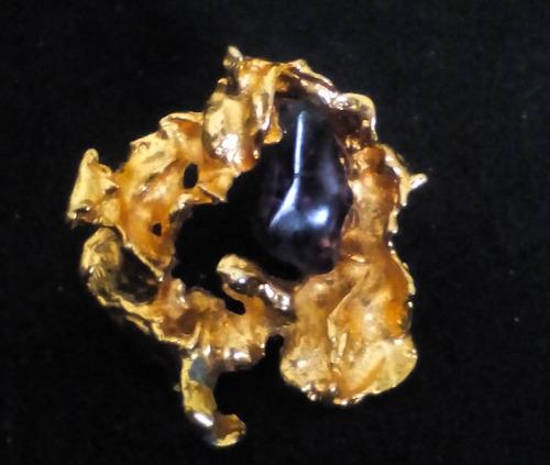 antiguo broche de amatista sobre metal con b/oro 24k 1965