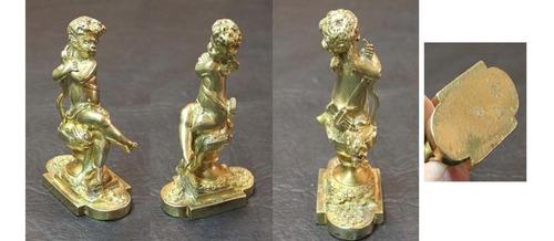 antiguo bronce dorado al mercurio cupido baccarat 9 x 6 cm