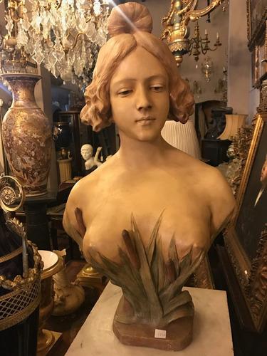 antiguo busto de dama en terracota firmado a. gory