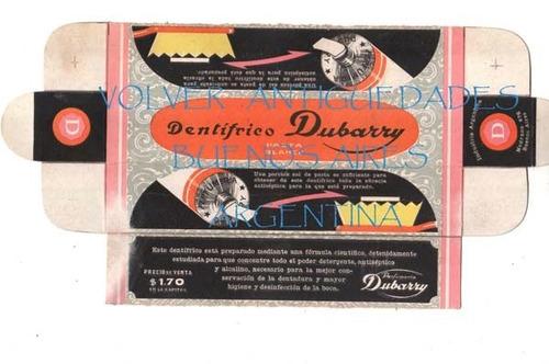 antiguo caja envase etiqueta dentifrico dubarry excelente !