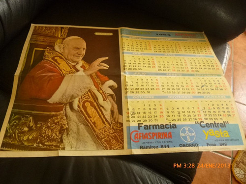 antiguo calendario papa juan 23  año 1964 (758