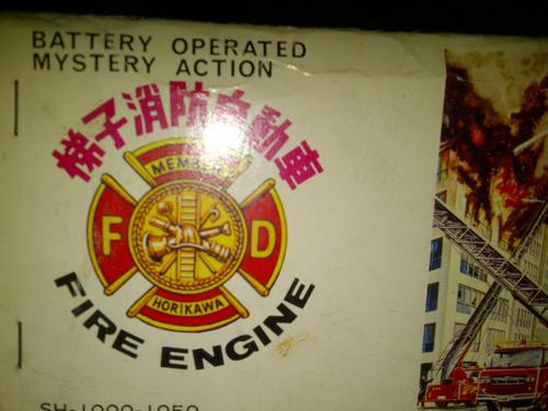 antiguo camion de bomberos autobomba chapa a pilas con caja
