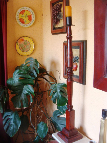 antiguo candelabro de pie torneado rauli -mide 88 cms