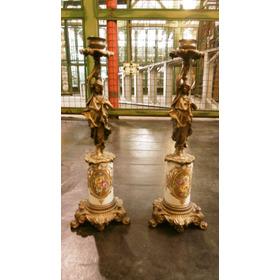 Antiguo Candelabros De Bronce Y Porcelana Mujeres