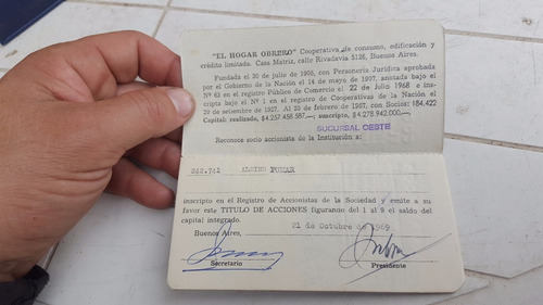antiguo carnet carnet cooperativa el hogar obrero