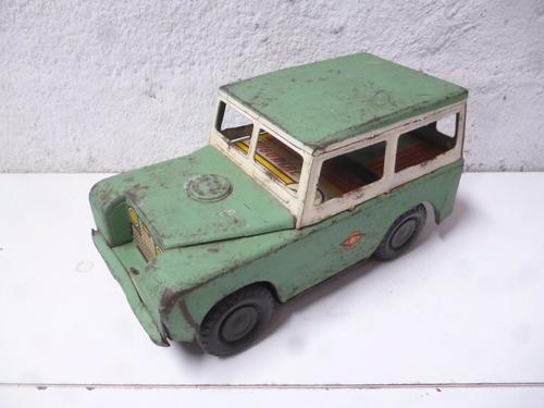 antiguo carro a escala land rover, hojalata, coleccionable