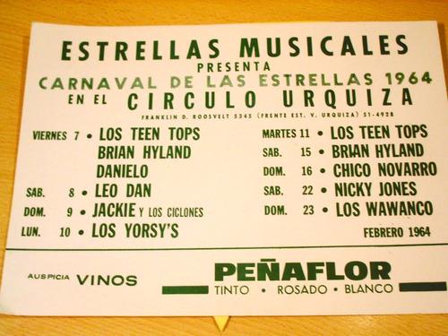 antiguo cartel baile carnaval peñaflor leo dan wawanco 1964