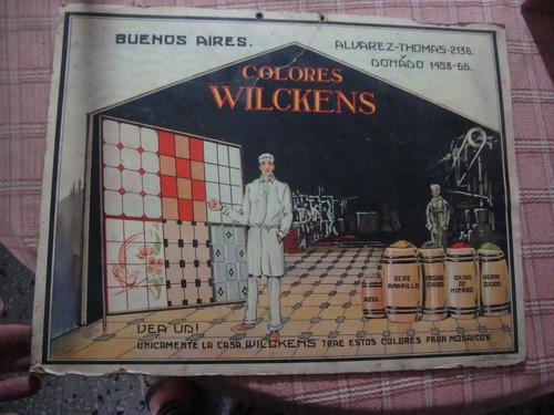 antiguo cartel de carton colores wilckens p mosaico 43x33 cm