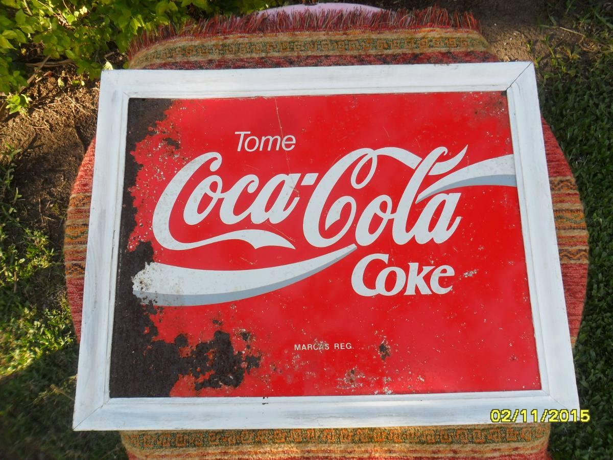 Antiguo Cartel En Chapa Coca Cola Con Marco En Madera - $ 475,00 en ...