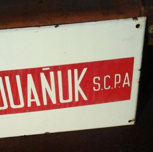 antiguo cartel propaganda original en  chapa enlozado izq.