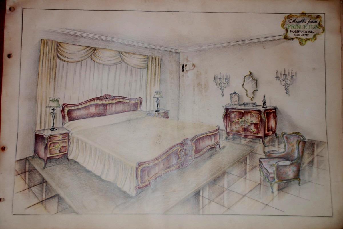 Antiguo catalogo dibujos originales a mano muebleria for Diseno de interiores quilmes
