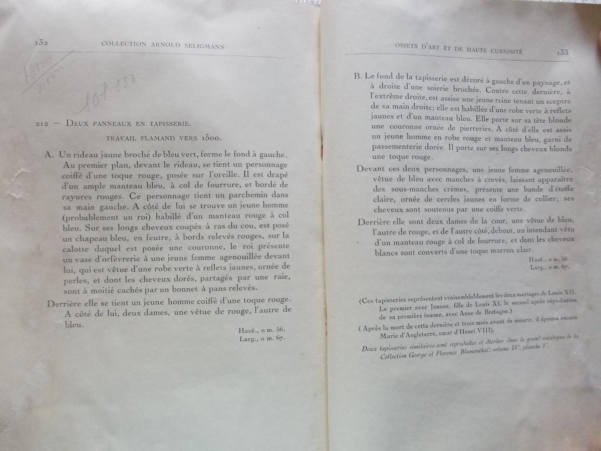 559a5027e Antiguo Catalogo Obj. Arte Colec Seligmann  Sharpentier1935 ...