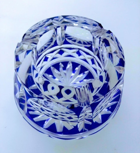 antiguo cenicero cristal checoslovaco azul cobalto la melan