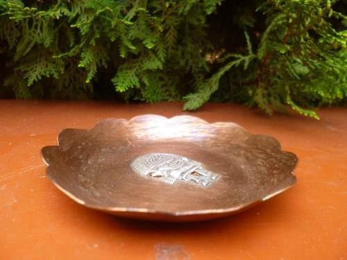 antiguo cenicero de cobre y plata, tumi