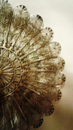 antiguo centrito plata probada. filigrana. 14 cm diám.