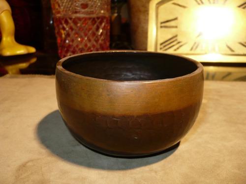 antiguo centro de mesa cuenco de cobre martele tipo roycroft