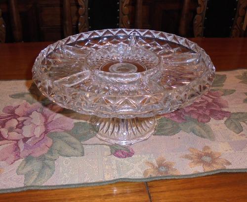 antiguo centro de mesa en cristal soga japon 29cm diametro