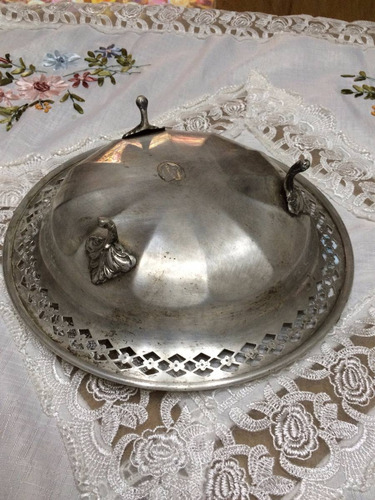 antiguo centro de mesa en platina sellado