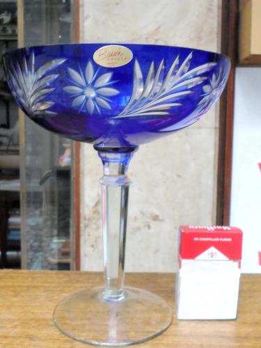 antiguo centro de mesa frutera copon cristal checo azul