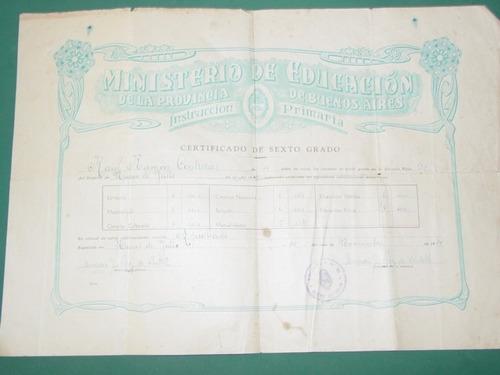 antiguo certificado escolar sexto grado buenos aires 1949